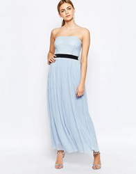 Love Maxi Dress With Pleated Skirt And Lace Top Powder Blue