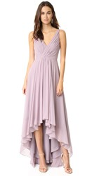 Monique Lhuillier Bridesmaids High Low Chiffon Gown Lilac