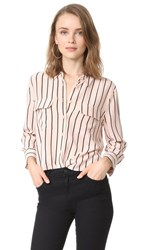 Equipment Cropped 3 4 Sleeve Signature Blouse French Tan True Black