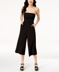 Emerald Sundae Juniors' Strapless Gaucho Jumpsuit Black