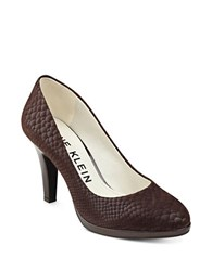 Anne Klein Lolana Snakeskin Patterned Leather Pumps Brown