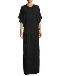 Cnc Costume National 3 4 Sleeve Round Neck Maxi Dress Black Women's