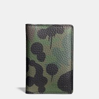 Coach Card Wallet In Wild Beast Camo Print Pebble Leather Military Wild Beast