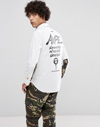 Aape By A Bathing Ape Shirt With Contrast Camo Print In Slim Fit White