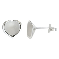 Nina B Silver Heart Stud Earrings Silver