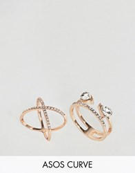 Asos Curve Pack Of 2 Fine Crystal Kiss Ring Pack Copper
