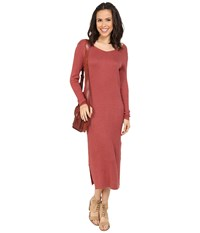 Only Misty Long Sleeve Long Dress Marsala Women's Dress Orange