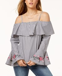 Amy Byer Bcx Juniors' Embroidered Cold Shoulder Top Stripe
