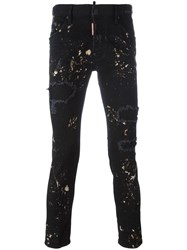 Dsquared2 Skater Paint Splatter Jeans Black
