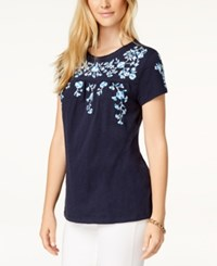 Charter Club Cotton Floral Print T Shirt Created For Macy's Intrepid Blue Ombre
