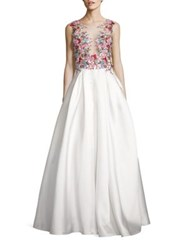 Basix Black Label Floral Beaded Gown White Multi