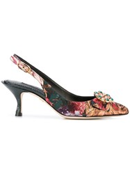 Dolce And Gabbana Floral Pointed Pumps Multicolour