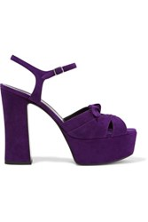 Saint Laurent Candy Suede Platform Sandals Purple
