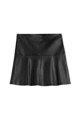 Jitrois Flared Leather Skirt Black