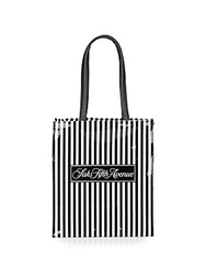 Saks Fifth Avenue Signature Striped Mini Lunch Tote Black White