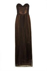 Metallic Pleated Bustier Maxi Dress By Rare Bronze