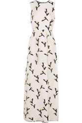 Tory Burch Taya Printed Fil Coupe Georgette Gown Ivory