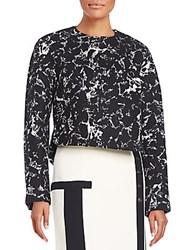 Balenciaga Printed Wool Blend Cocoon Jacket Black White