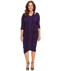 Kiyonna Riveting Ruched Dress Amethyst Women's Dress Purple