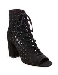 Steve Madden Denay Suede Lace Up Ankle Length Booties Black