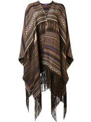 Ralph Lauren Collection Ethnic Motif Knit Poncho Brown