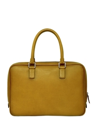 Giorgio Armani Brushed Saffiano Leather Briefcase Tan