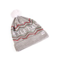 Tuck Shop Co. Little Italy Striped Pompom Beanie Light Heather Grey