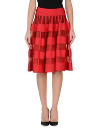 Alaia Knee Length Skirts Red