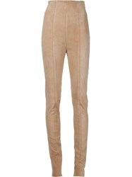 Balmain Suede Skinny Trousers Nude And Neutrals