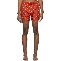 Neil Barrett Red And White Pattern Swim Shorts