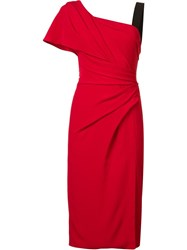 J. Mendel One Shoulder Draped Dress Red