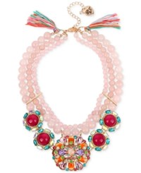 Betsey Johnson Rose Gold Tone Imitation Pearl And Stone Cluster Statement Necklace Pink