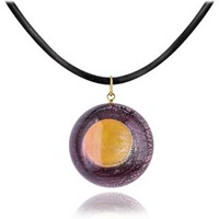 Akuamarina Silver Leaf And Murano Glass Round Pendant Necklace Purple Gold