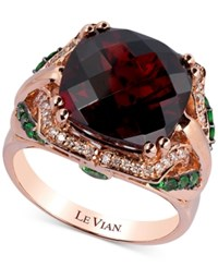 Le Vian Rhodolite Garnet 8 Ct. T.W. Tsavorite 3 8 Ct. T.W. And Diamond 1 8 Ct. T.W. Ring In 14K Strawberry Rose Gold