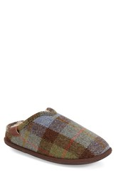Men's Bedroom Athletics 'William' Harris Tweed Scuff Slipper Chocolate Green Check