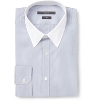 Gucci Navy Slim Fit Contrast Collar Striped Cotton Shirt Blue