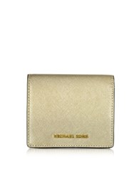 Michael Kors Jet Set Travel Pale Gold Saffiano Leather Carryall Card Case