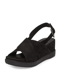 Eileen Fisher Good Crisscross Wedge Sandal Black Women's