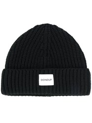 Dondup Logo Patch Knitted Beanie Men Acrylic Wool One Size Black