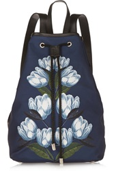 Mother Of Pearl Silvie Leather Trimmed Printed Brushed Satin Backpack Blue