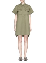 Alexander Wang High Low Hem Cotton Twill Utility Dress Green