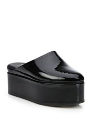 Fendi Fluffyland Patent Leather Platform Mules Black