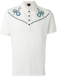 Just Cavalli Snake Embroidered Polo Top White