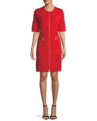 Misook Zip Front Short Sleeve Shirtdress Plus Size Red