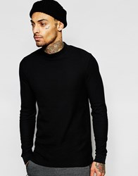 Asos Waffle Jersey Longline Long Sleeve T Shirt With Turtle Neck Black