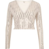 River Island Womens Blush Pink Plunge Sequin Crop Top