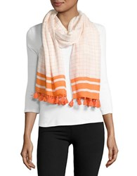 Michael Michael Kors Windowpane Fringed Scarf White Orange