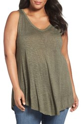 Sejour Plus Size Women's Triangle Knit Tank Olive Sarma