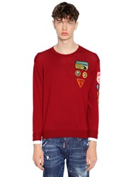 Dsquared Patch Wool Knit Sweater W Shirt Cuffs Bordeaux