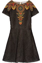 Valentino Embroidered Cotton Mesh Mini Dress Black